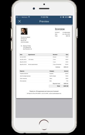 Invoice PocketSuite - Send invoice via text