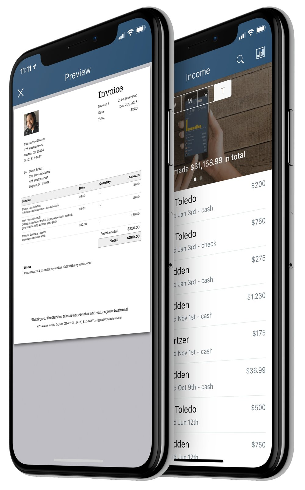 Accept Payments & Cashout Same Day - Invoice your clients with your custom imported forms or charge their credit card within the PocketSuite app with a low 2.7% Processing Fee. Track all owed payments and what has been paid.Learn More
