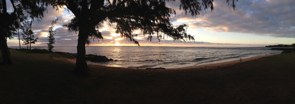 Sunrise at the Kauai Tai Chi Class Location - On The Beach in Kapa'a - Wuji Meditation Practice begins just after sunrise