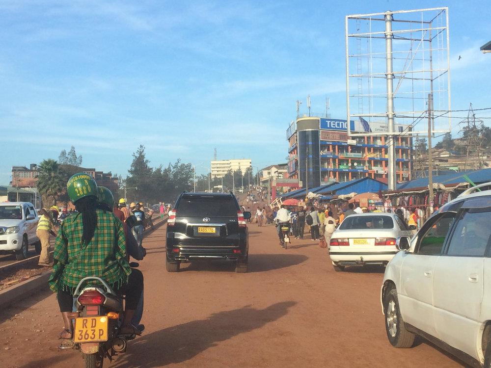 Traffic in Kigali, Rwanda.