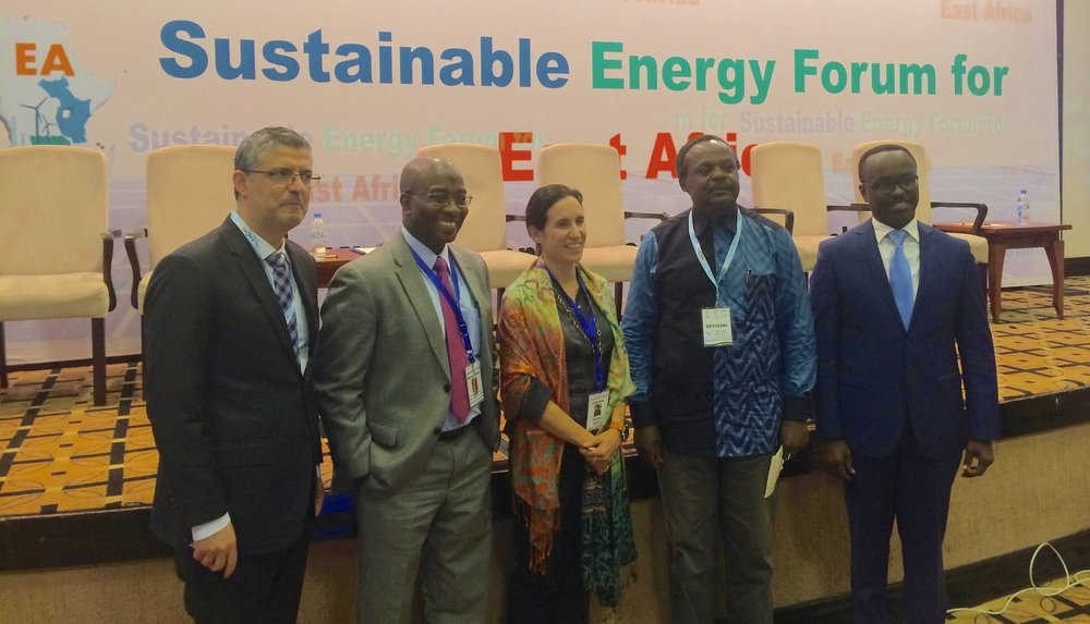 From left to right: Tareq Emtairah (UNIDO), Mohamed Bakarr (GEF), Dima Reda (Nataij), Vincent Kitio (UNHabitat), and Didier Nkurikiyimfura (Smart Africa) at the Sustainable Energy Form.