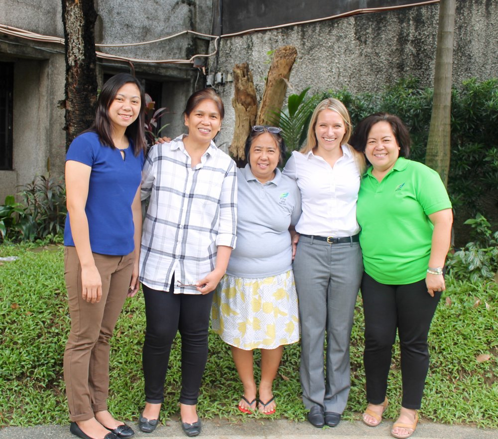 Nataij Research Analyst, Erica Slowik, with the members of Foundation for the Philippine Environment's financial team.