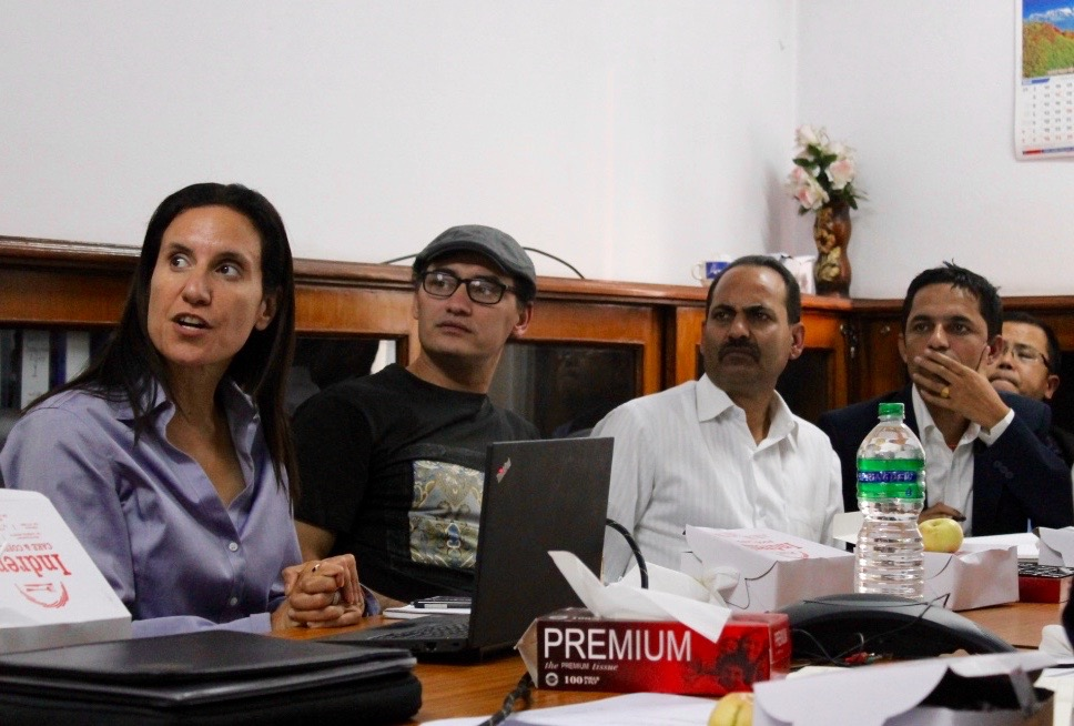 Nataij Founder and President, Dima Reda, collaborates with the Ministry of Finance during one of the team's field visits to Kathmandu, Nepal.