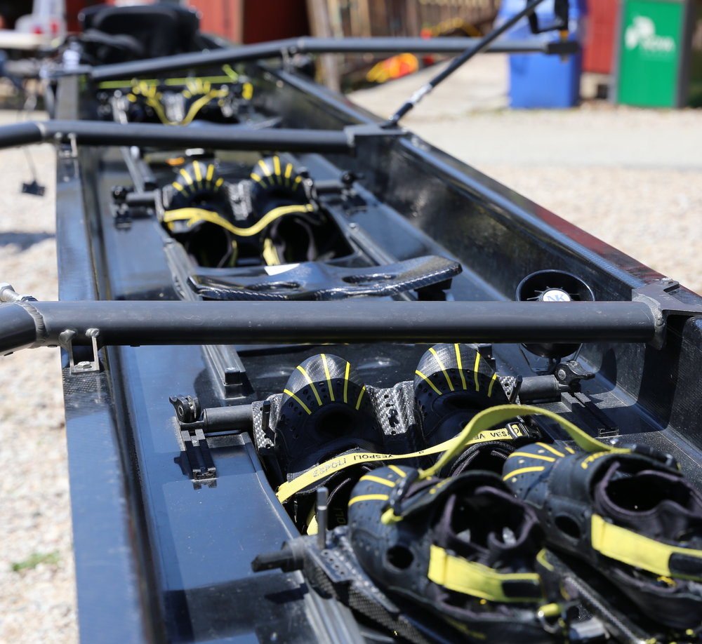 ONE SEAT, TWO PAIR OF SHOES - Each boat contains a sliding seat and a pair of shoes bolted to a foot plate for each rower — a gift of $150 allows the team to buy either one new seat or two new pairs shoes.