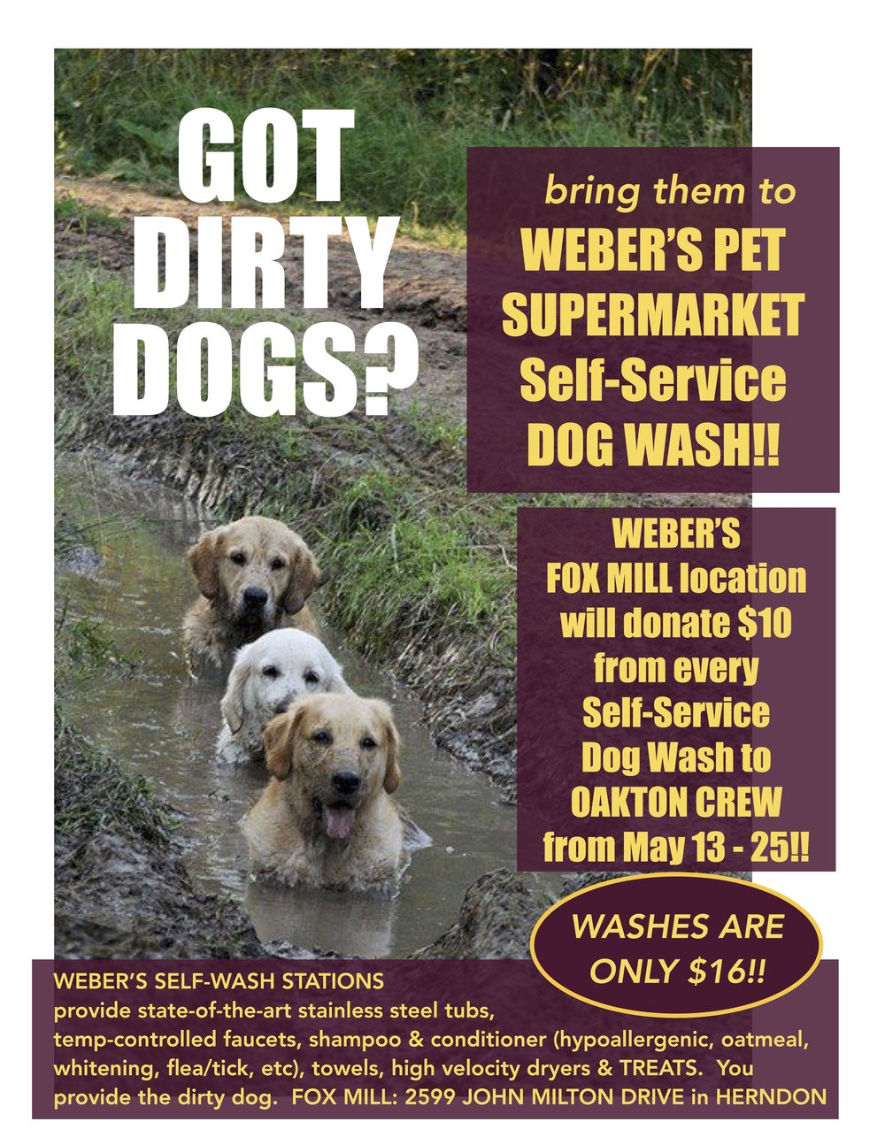 DON'T FORGET OUR DOG-WASH FUNDRAISER, from now until May 25th!
