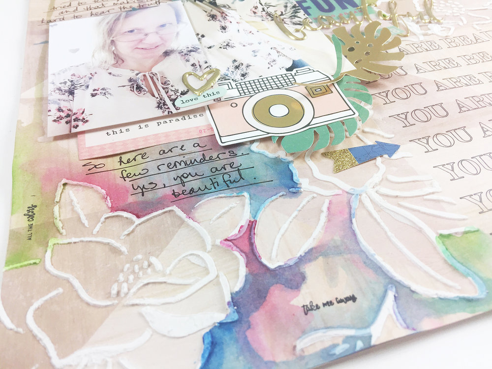 Larkindesign Traditional Scrapbook Layout | You Are Beautiful feat. Crate Paper Oasis & Jane Davenport