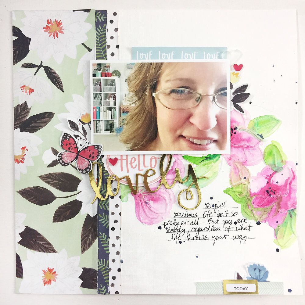Larkindesign Traditional Mixed Media Layout | Hello Lovely ft. Hazelwood!
