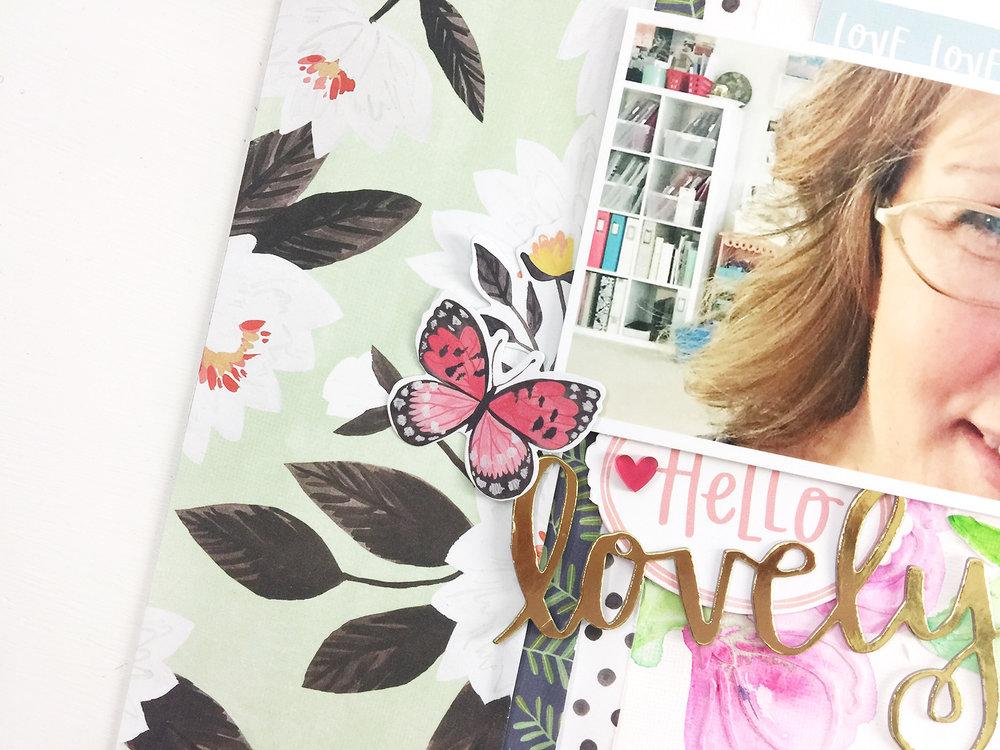 Larkindesign Traditional Mixed Media Layout | Hello Lovely ft. Hazelwood!
