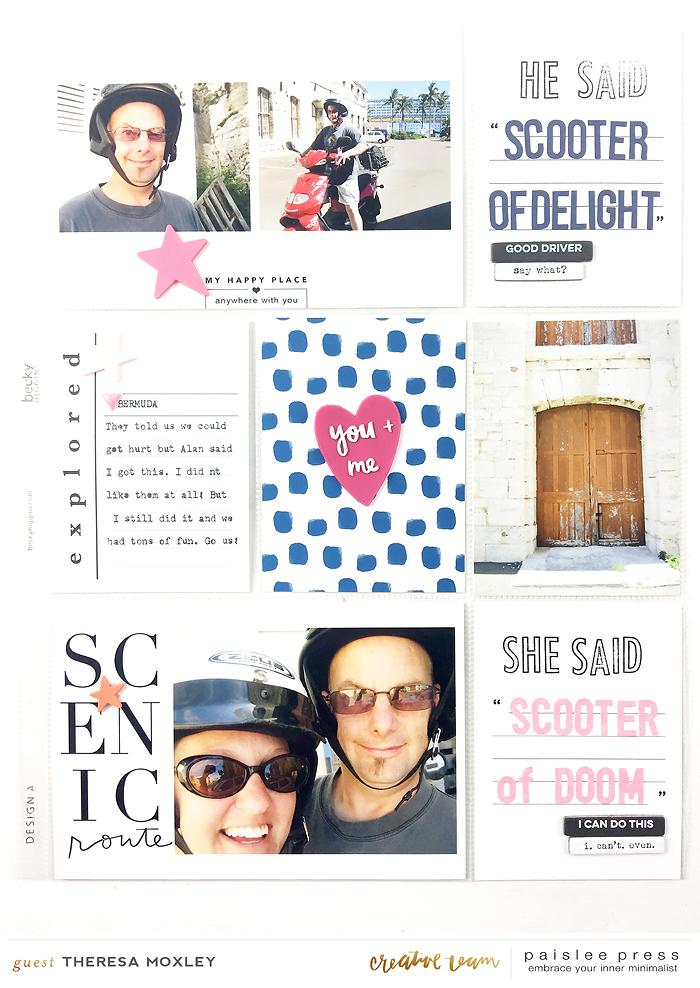 Paislee Press CT Guest Designer Theresa Moxley   Bermuda Honeymoon Album Layout No. 08