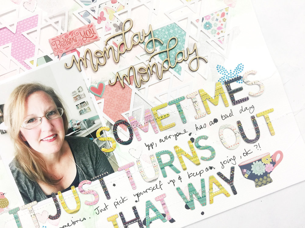 Larkindesign Mixed Media Layout | Monday Monday ft. Paige Evans Turn the Page!!!