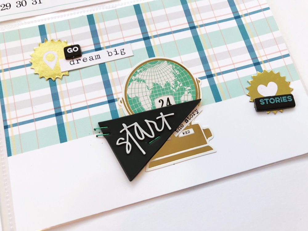 I layered pieces from past Ali Edwards Story Kits with some Maggie Holmes Stickers.