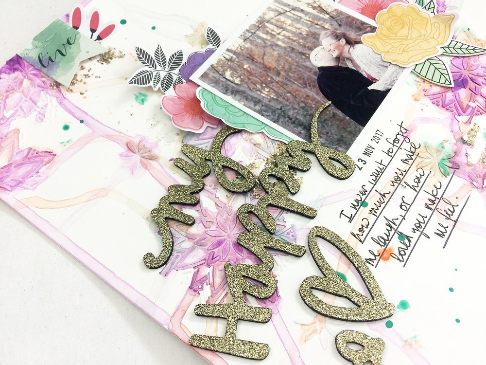 Larkindesign Mixed Media Scrapbook Layout | My Happy Heart ft. Vicki Boutin All The Good Things!!!!