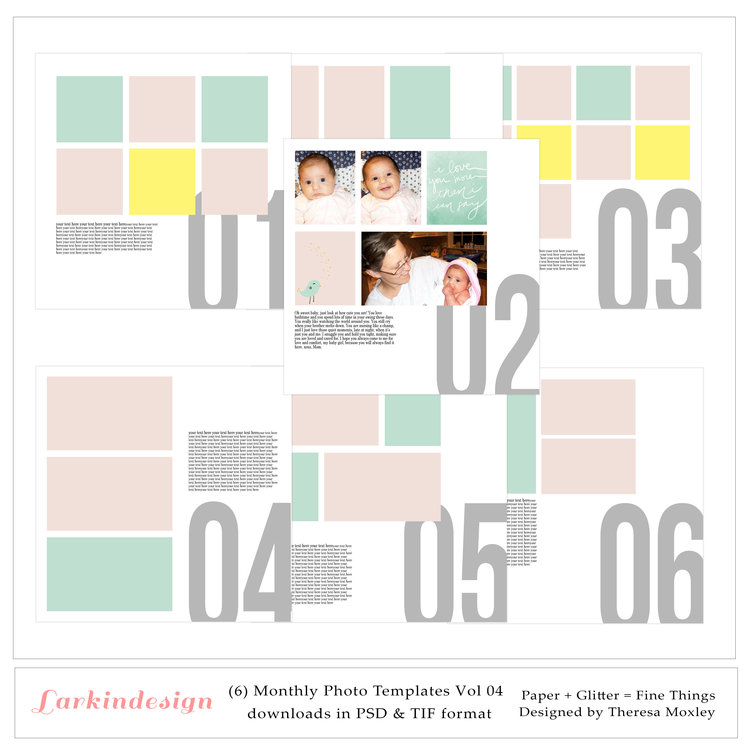 (6) 12x12 Monthly Photo Templates