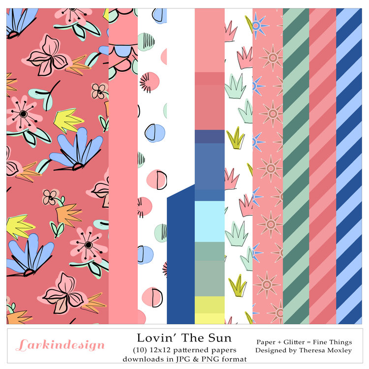 Lovin' the Sun Digital 12x12 Patterned Papers