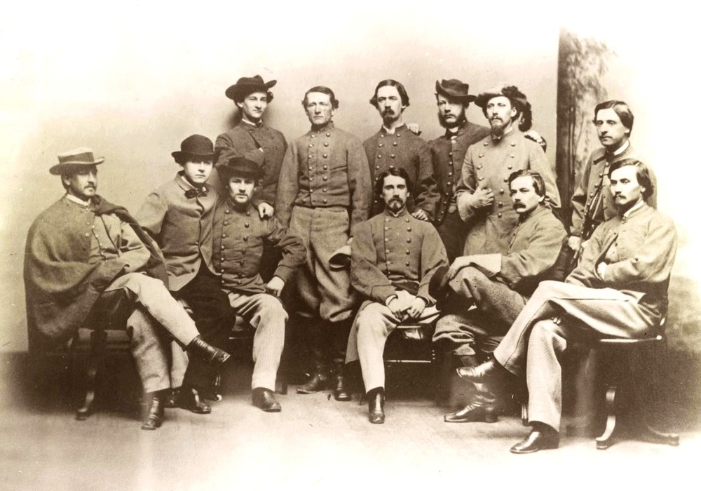 Mosby, center, with a group of Rangers.