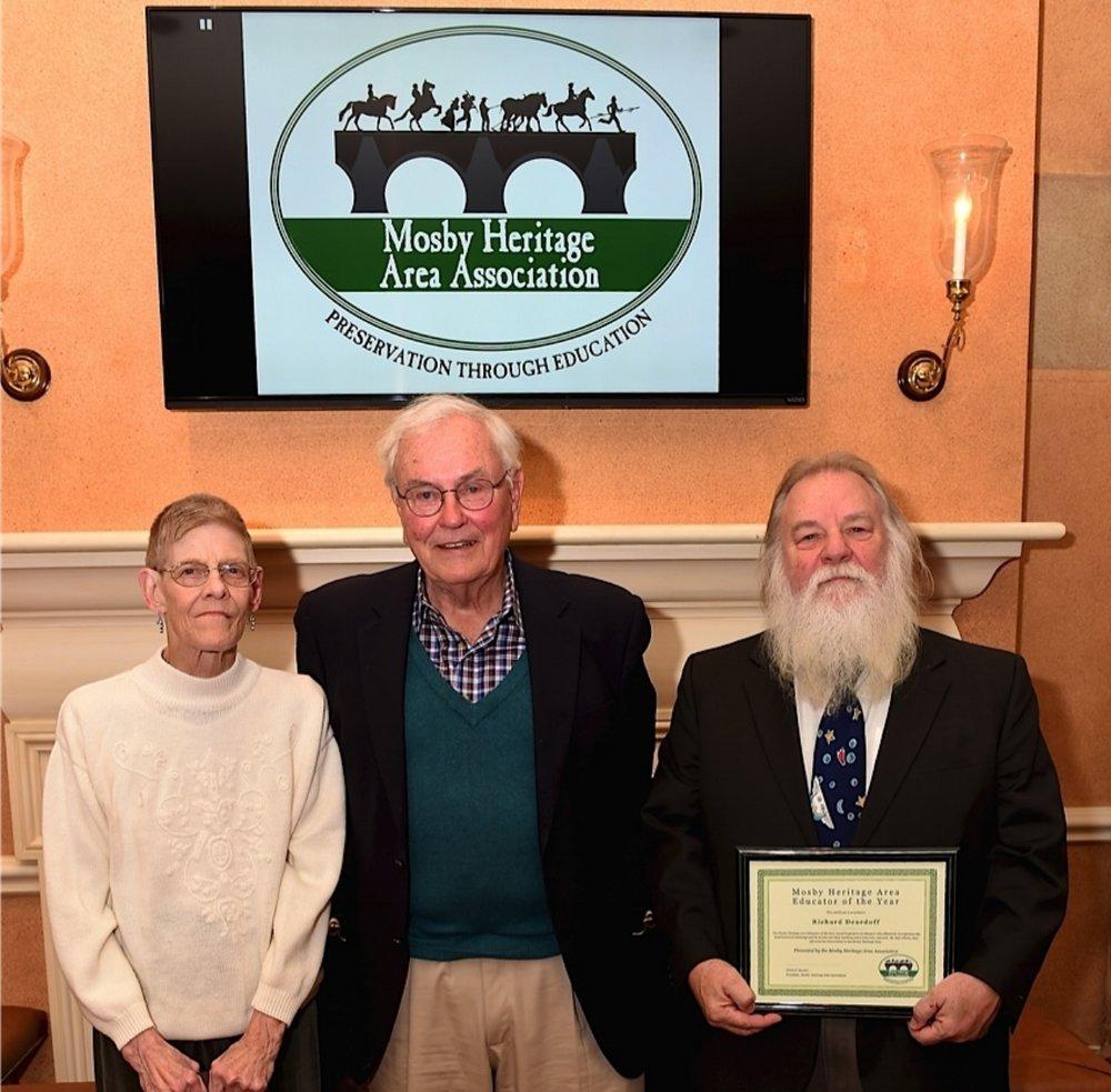 Heritage Hero Mary Thomason-Morris, left, Heritage Hero Al Van Huyck, center, and Educator of the Year Richard Deardoff, right