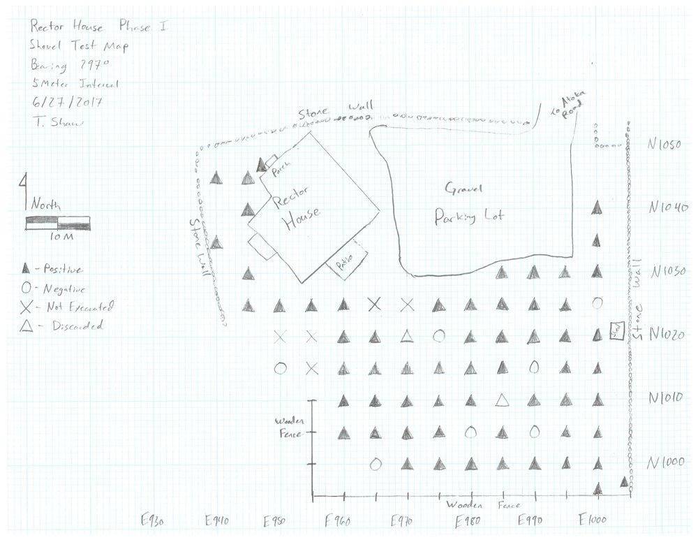 Here's a basic sketch map of the shovel testing. All of those black triangles are shovel tests where artifacts were recovered. It's a little overwhelming.