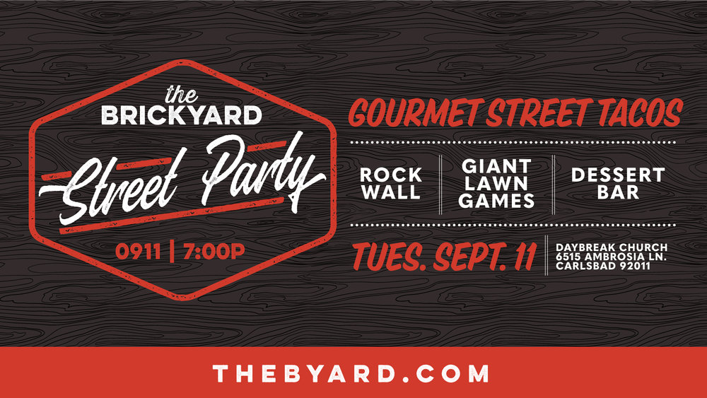 TUESDAY SEPTEMBER 11TH @ 7:30PM  FREE STREET TACOS  CLIMBING WALL  GAMES & PRIZES  PHOTO BOOTH  DESSERT BAR  Show up at 7pm on Tuesday for a fun night with friends. This can't miss event starts at 7pm and goes until 9ish. Its designed help you get connected to your friends, make a few new ones and have a great time launching into the Fall Season.
