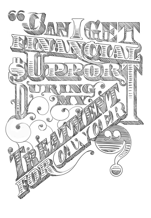 Money illustrated type sketch