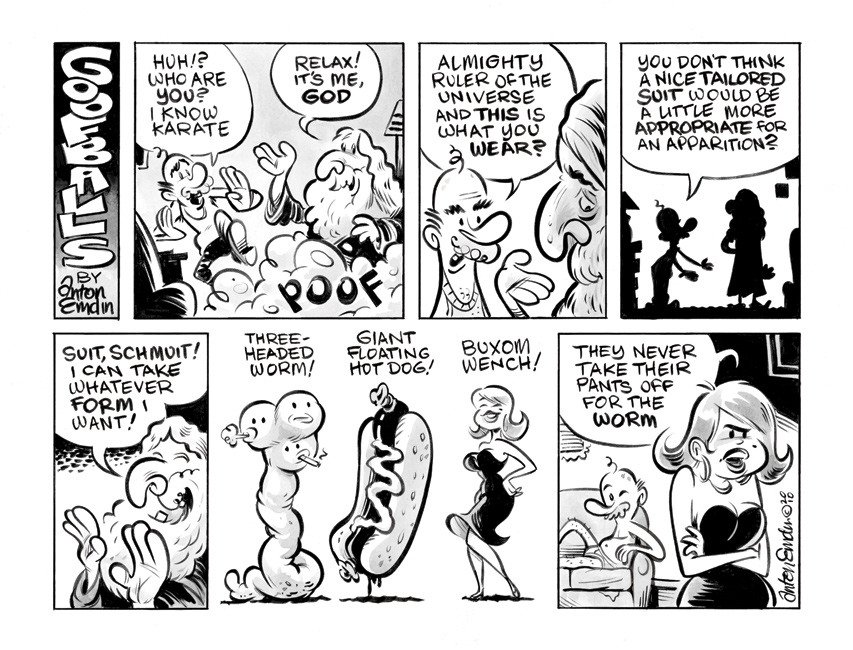 Goofballs 'A Visit From God' comic strip by Anton Emdin