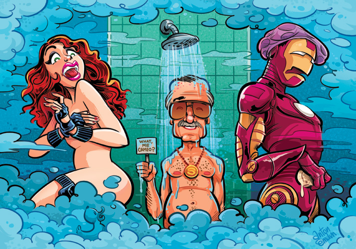 Stan Lee's Cameo illustration for MAD's Iron Man 2 satire
