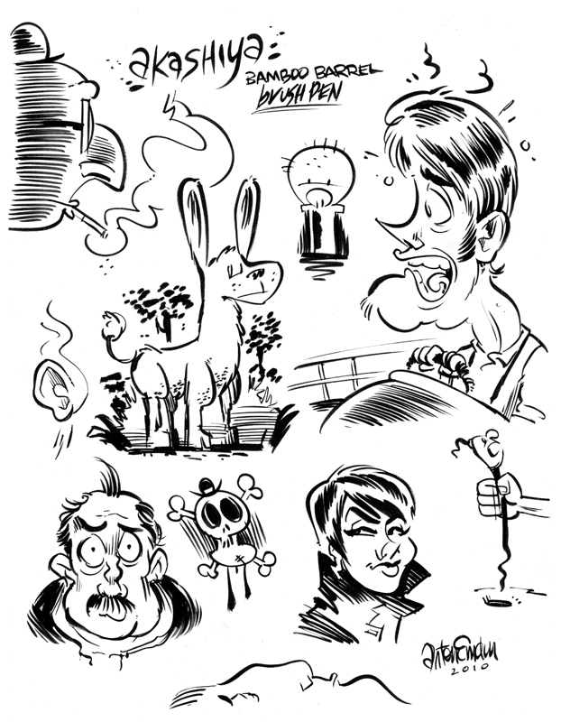 Akashiya brush pen sample sketches
