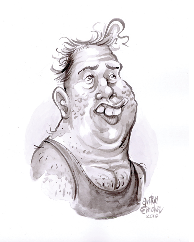 """Cousin Vern"", India ink wash on smooth, white 250gsm Lana Bristol board, roughly 9"" x 6"" on 8.25"" x 11.75"" paper"