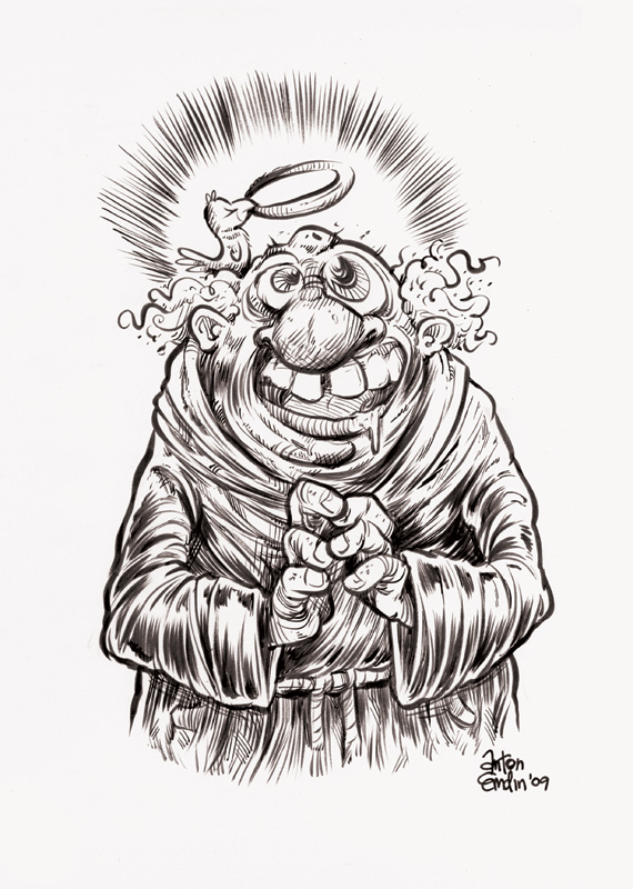 """Friar"", India ink on smooth, off-white 220gsm Winsor & Newton paper, roughly 9""x6"" on 9"" x 12"" paper"
