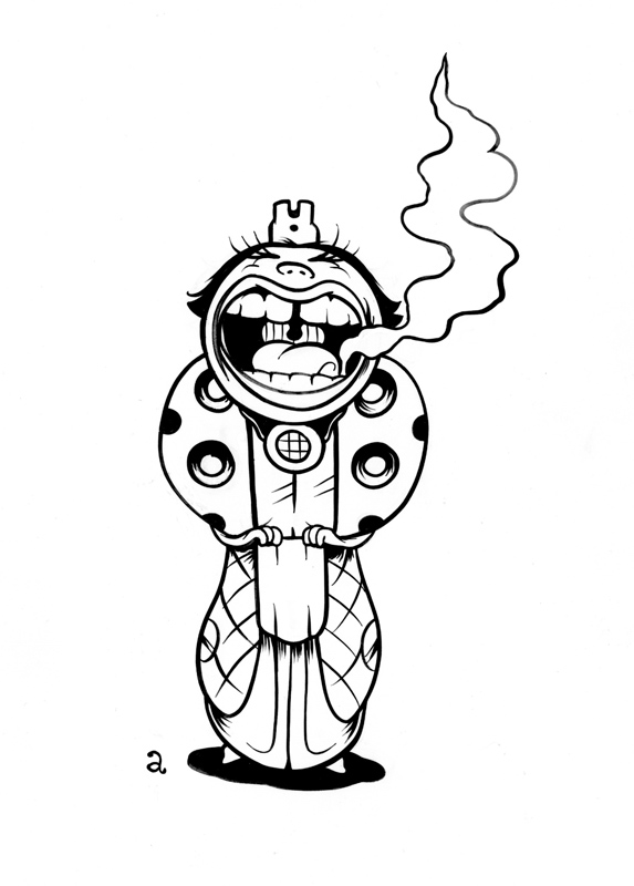 """Woman of Calibre"", India ink on smooth, white Bristol paper, roughly 9"" x 5"" on 8.25"" x 11.5"" paper"