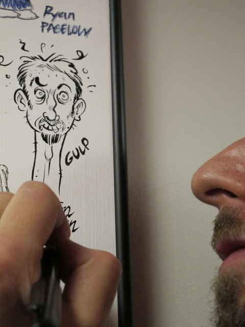Drawing on the Board of Fame, close-up