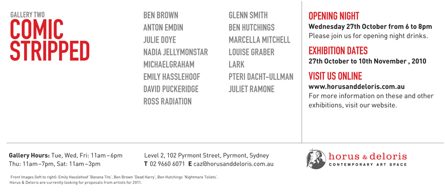 'Comic Stripped' exhibition at Horus and Deloris Gallery, Sydney
