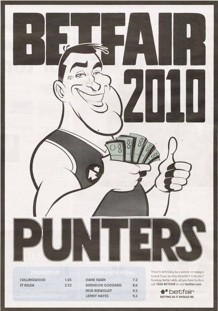 AFL Punter press ad clipping by Anton Emdin