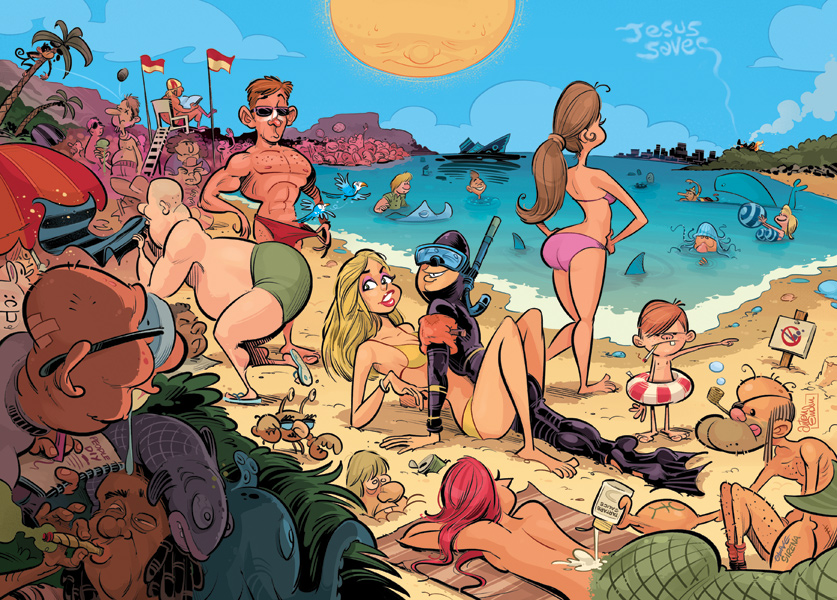 Beach Sex illustration for People magazine by Anton Emdin