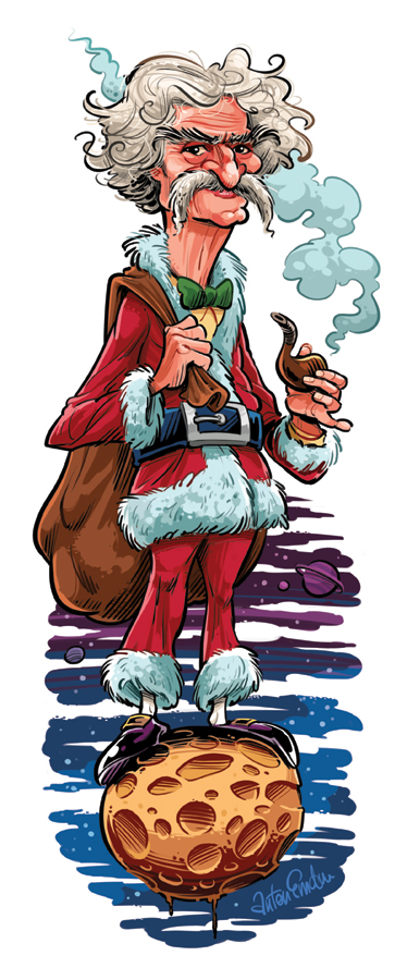 Mark Twain as Santa Claus by Anton Emdin