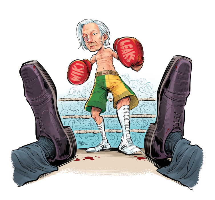 WikiLeaks Julian Assange cover art for The Spectator by Anton Emdin