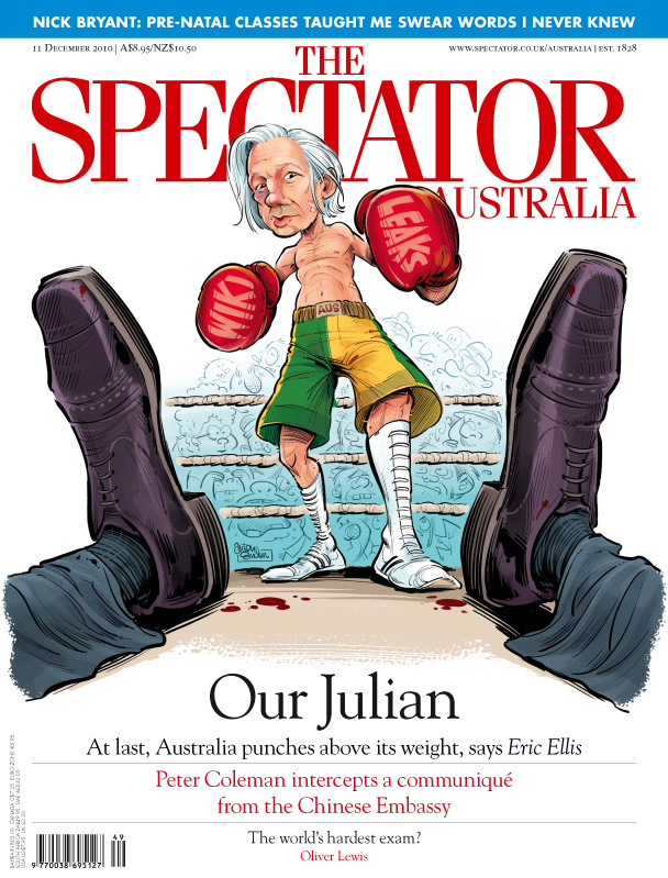 WikiLeaks Julian Assange cover for The Spectator by Anton Emdin