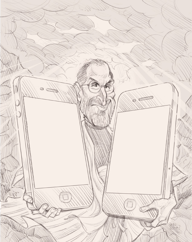 Steve Jobs iPhone4 art by Anton Emdin for MAD #507