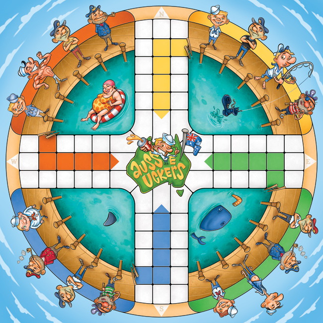 Aussie Uckers board game illustration by Anton Emdin