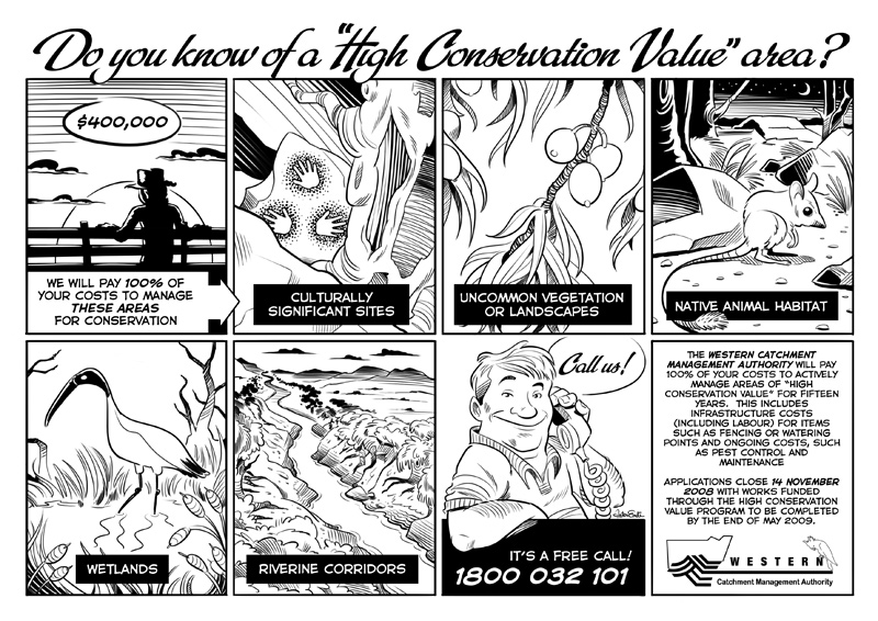 'High Conservation Value' comic strip for the Western Catchment Management Authority
