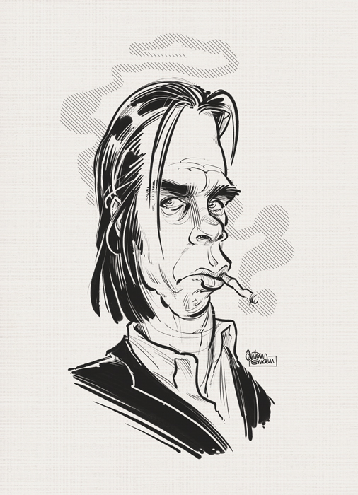 'Saint Nick' caricature / portrait of Nick Cave by Anton emdin