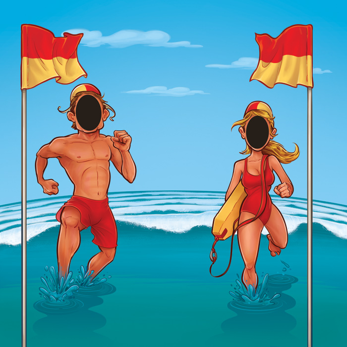 Surf Lifesavers illustration for Wet 'n' Wild and Coca-Cola