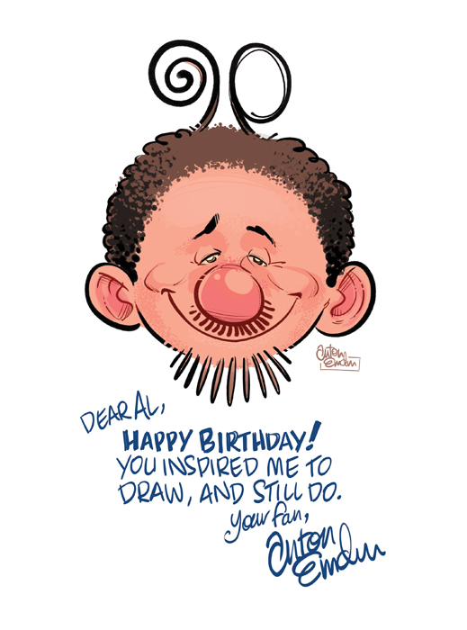 Al Jaffee's 90th Birthday card by Anton Emdin