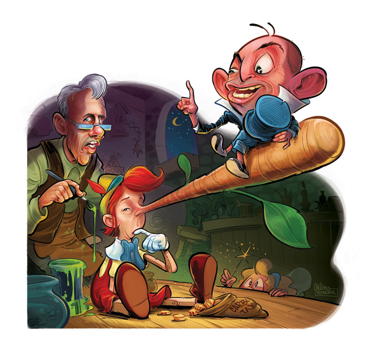 Pinocchio artwork for The Spectator Australia by Anton Emdin