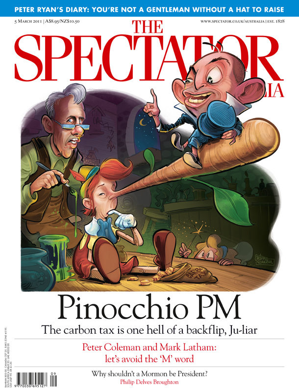 Pinocchio PM published Spectator Australia Cover - art by Anton Emdin