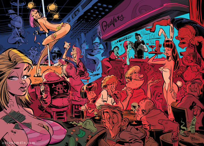 Strip Club illustration for People Magazine © Anton Emdin 2011
