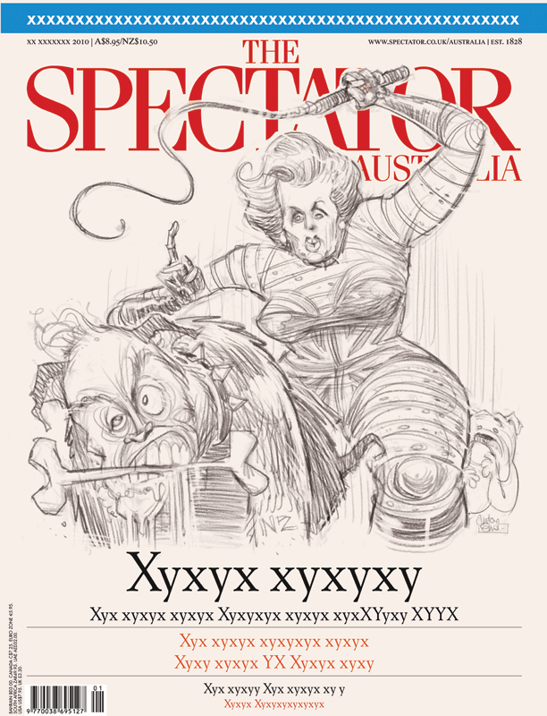 Brash Thatcher cover art sketch for The Spectator Australia © Anton Emdin
