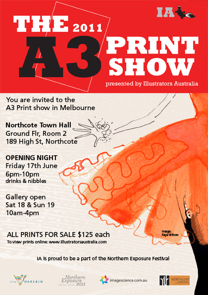 Illustrators Australia A3 Show 2011 flyer