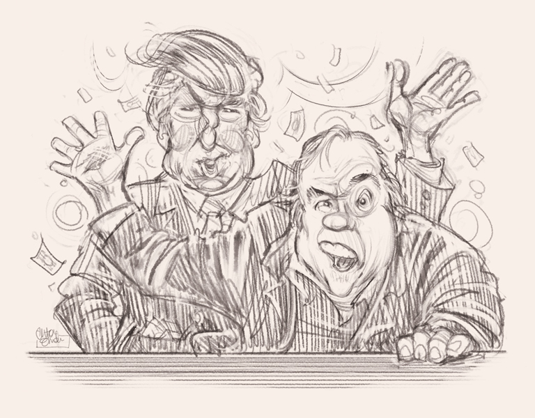 Donald Trump and Meatloaf sketch for MAD Magazine by Anton Emdin © EC Publications 2011