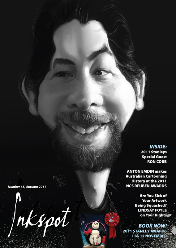ACA Inkspot Cover, Caricature of Anton Emdin by and © Luke Watson 2011