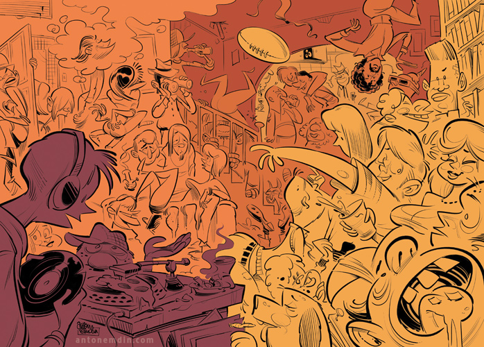 House Party illustration © Anton Emdin 2011